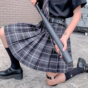 Uniformes mujeres Kawaii Cosplay falda de tela escocesa de muy buen gusto de Harajuku Lolita faldas plisadas linda Japón Los estudiantes de la escuela Faldas Damas Jupe Q1116