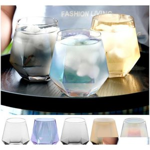 300 ملليلتر زجاج النبيذ نظارات حليب كأس الملونة كريستال الزجاج هندسة سداسية كأس بنوم بنه الويسكي كأس DHD36 TGSMD