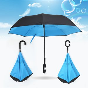 58 Colors Creative inverted umbrellas double layer with C handle or J handle inside out reverse Windproof Many colors available EWF3210