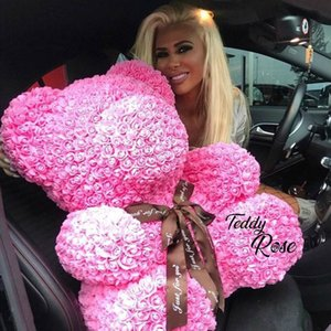 2019 Valentines Day Gift 40cm Red Rose Teddy Bear Rose Flower Artificial Decoration Christmas Gifts Women Valentines Gift Q1126