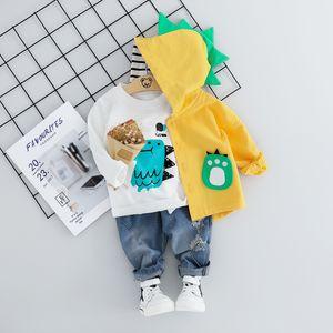 Kid Baby Boy Clothing Sets Cartoon Coat 3PCS Fashion Toddler Girls Baby Suit for Boys Coat + T shirt + Pants 1 - 4 Y LJ200831