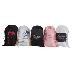 28X40cm custom brand name human Virgin Hair extension wig satin packaging Bag,women premium hair bundles silk packing Bag Y1202