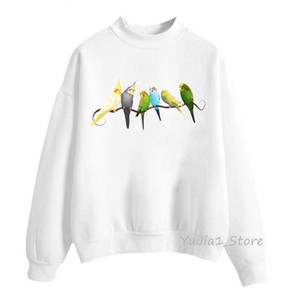 Cute watercolor Cockatiel design hoodies women kawaii Parrot toucan bird print sweatshirt winter hoody ladies custom moletom