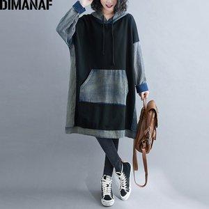 DIMANAF Plus Size Women Hoodies Sweatshirts Winter Cotton Denim Thick Vintage Long Sleeve Pullover Loose Casual Hooded Dress