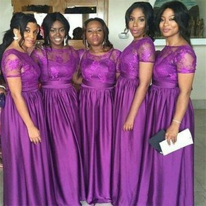 2021 Purple Bridesmaid Dresses Short Sleeves Lace Scoop Neck Silk Chiffon A Line African Maid of Honor Gowns Plus Size Vestidos Long AL8467