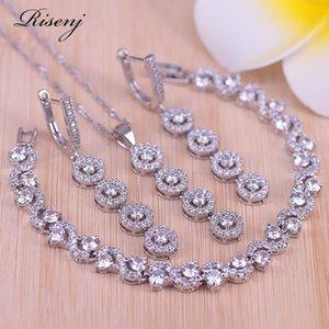 Risenj Top Branco Zircão Cúbico Cor de Prata Jewellry Rrings Bracelete Set para Mulheres Melhor Casamento / Engajamento Jewellry 201130