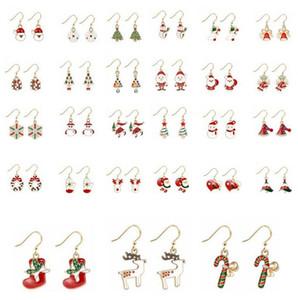 Boucles d'oreilles de Noël Cadeaux d'oreille de Noël Cadeaux Arbre de Noël Arbre de Noël Santa Claus Forme Boucle d'oreille Femmes Designer Bijoux Décoration de Noël BWC4080