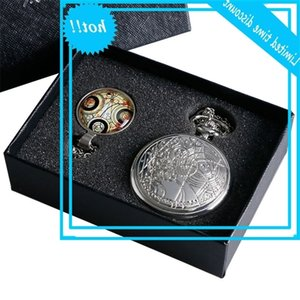Old silver necklace with pocket watch doctor who + quartz vase gift box for men and women