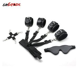 Smspade Bondage Restraint Kit Cuffs Ankles & Blindfold Multifunctional Under the Bed BDSM Adult Sex Toy for Couples PU & Velvet Y201118