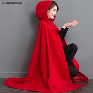 Autunno Inverno 2020 Womens Capes Red Hooded Poncho Poncho Cappotti di lana Batwing Long Cloak Capas y Ponchos Damas W5HL