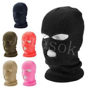 Зима 3 лунка 2 отверстия вязаные головные уборы на велосипеде на велосипеде полная маска для лица открытый Earflaps Headgear мода крышка головных уборов аксессуары DB265