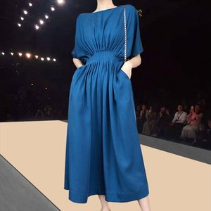 Summer 2020 Solid Long Dress Women Korean Maxi Dresses for Women Vestidos Casual Pleated Office Lady Robe Femme