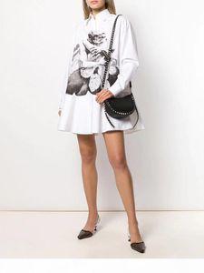 European big brand spring and summer 2020 Lapel black and white couple romantic printing pure cotton crisp loose Ruffle hem shirt dress