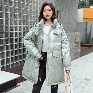 New Glossy Parka Oversize Coat Fashion Winter Jacket Women Medium Long Hooded Parka Female Warm Office Lady