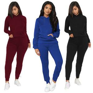 Женщины Cousssit Толщисты 2 шт. Установите рубашки с длинным рукавом + леггинсы с капюшоном Sportswear Fall Simple Solid Color Jogger Suit Plus Размер 3656