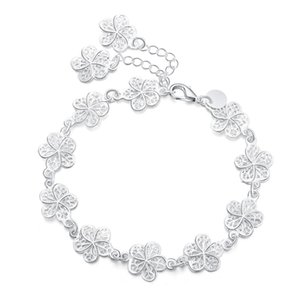 Nuevo llega hermosa pulsera noble cadena de flores moda boda fiesta plata linda dama agradable mujeres pulsera joyería lh013 h jllltj