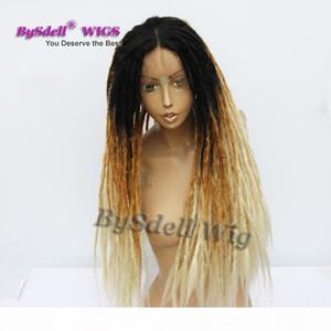 مصنوع يدويا جامايكا dreadlock الباروكة الاصطناعية الأفرو dreadlocks الشعر الأسود أومبير براون تيل شقراء الجديل جديلة الرباط الجبهة الباروكات للنساء السود