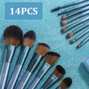 BS-MALL makeup brush set 14 pieces of advanced synthetic professional makeup brush foundation powder mixed concealer eye shadow dark star bl