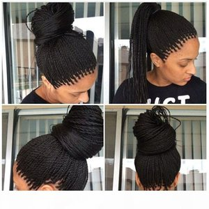 High Quality Cheap Braided Lace Front Wig Natural Black Soft Fiber Hair Heat Resistant Synthetic Braided Wigs for Black Women
