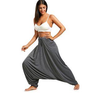 Mulheres Calças Drop Drop Bottom Harem Calças com Drawstring Casual Loose Plus Size Calças de comprimento total Hippie Balloon Pants S-2XL