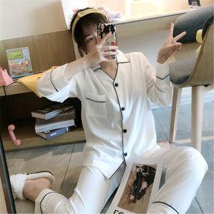 FOPLY mulheres pijamas pj definir moda camisas brancas calças conjuntos elegante casa homewear colarinho de manga comprida sleewear outono