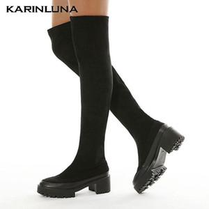 Drop Доставка в продажу Готическая модная обувь Женщины Лоскутное одеяло на колени Высокие сапоги квадратные толстые каблуки флоки бедра