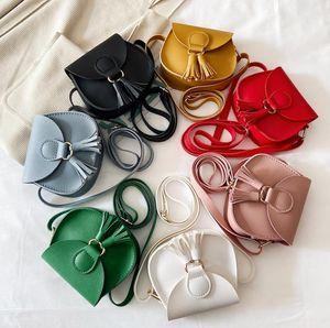 Meninas Baby Bolsas Ins Bossel Messenger Bag PU Couro Crossbody Bags Dos Desenhos Animados Crianças Crianças Moda Moeda Bolsa 7 Cores DHW2683