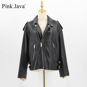 Java Pink Java QC20007 Chaquetas de cuero Mujer Abrigo Real Ovejas Cuero Vestido de Moda Genuino Tamaño Grande