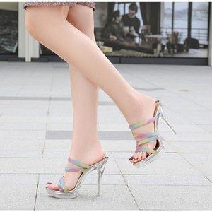 Хрустальные дамы тапочки половина - тяги радуга сексуальная летняя мода вечеринка высокие каблуки 12 см обувь открытая носящая платформа женских тапочек1
