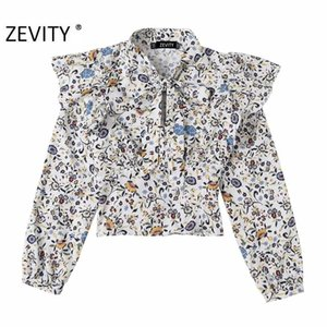 Zevity New Mulheres Floral Vintage Imprimir Ruffles blusa blusa Office Lady Bow Collar Side Zipper camisas Chic Blusas Tops LS7271