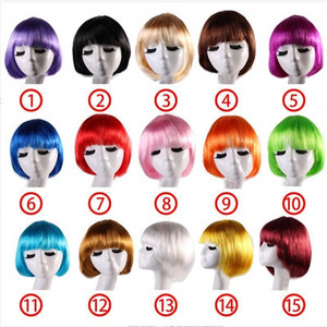 Color Candy Colors Short Bob Wig Pelucas sintéticas para mujeres con flequillo Bob Hairs Party Cosplay Anime Halloween Straight Bob Wigs