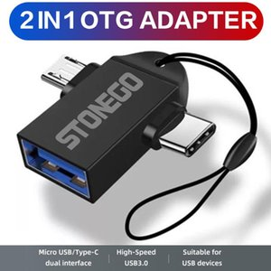 STONEGO 2 in 1 OTG Adapter, USB 3.0 Female To Micro USB Male and C Male Connector Aluminum Alloy on The Go Converter