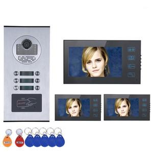 "Touch Button 7 ""3/4/5/6 شقة / عائلة فيديو باب الهاتف إنترفون نظام RFID IR-CUT HD 1000TVL كاميرا مع 6 زر للماء 1"