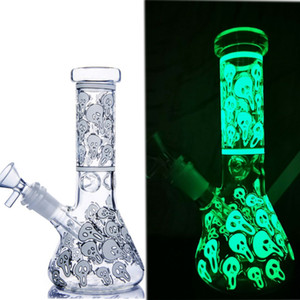 glow in the dark bong skull glass water bongs beaker base smoke pipe downstem perc waterpipe hookahs shisha heady dab rigs chicha 14mm
