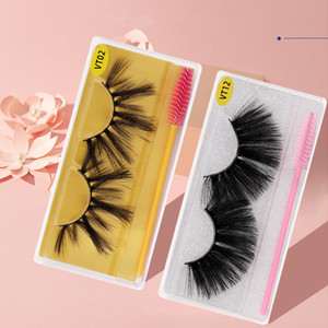 New 25mm Makeup Eyelashes Faux 3D Mink Eyelashes Fluffy Soft Wispy Natural long Cross False Eyelashes Eye Lashes Reusable Eyelash Extension