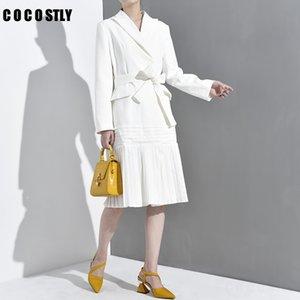 Осень для женской ветровки ослабенна с длинным рукавом повязка повязка с длинным рукавом Slim Pliated Trench Window Coat Мода одежда 2019