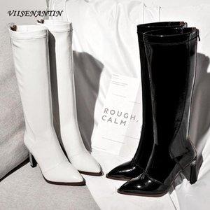 VIENENANTIN 2020 Neue Herbst Winter Mode Stiefel Spitz POFILED Ferse Lackleder Stiefel Weibliche High1