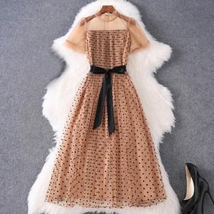 2020 Summer Short Sleeve Round Neck Black Retro Polka Dot Print Tulle Belted Pleated Mid-Calf Dress Elegant Casual Dresses MQ2989425
