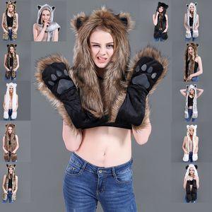 Hot-selling winter imitation leather hats plush animal hats cute cartoon fox panda hats scarf gloves one spot