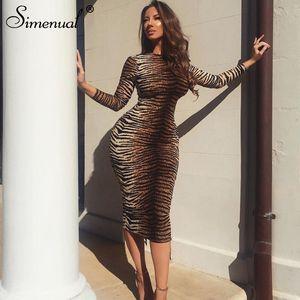 Simenual Sexy Fashion Zebra 인쇄 여성 Maxi Dresses 긴 소매 가을 마른 파티 Clubwear 핫 바디 콘 드레스 슬림 판매 Y200326