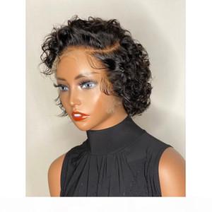 Pixie coupée perruque cheveux humains courts bouclés avant cueillis nœuds blanchis perruques perruques bob perruque dentelle frontière frontale perrous de cheveux humains 13x4 brésilien Remy