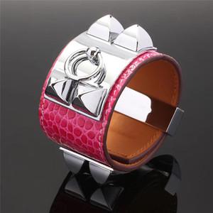 hot sale H pink snake tiger alligator leather bangles classic punk wild bracelet belt buckle wristlet broad bangles
