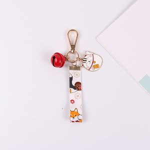 Fortune Kitten Cat Lucky Ribbon Pretty Key Chain Pendant Good Luck Blessing Keyrings Charm Bag Ornaments Gift