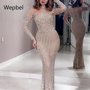 BodyCon altura de la cintura de las mujeres Wepbel bronce de manga larga vestidos de bola de partido de cena del vestido de Mujer Cuerpo Entero