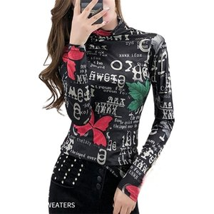 2020 Autumn Winter Fleece Warm Top Tee for Girl Butterfly Print Tight Tshirt Long Sleeve Clothing Women 2020 Graphic LT471S50 A1112