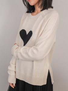 Women Sweater Newest High Quality Love Pattern 100% Cashmere Sweater