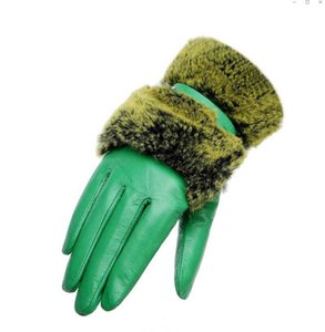 Women winter Fur Genuine Leather softs warm Belt buckle sexy drive Ladies Sheep fuzzy Motorcycle outdoor Driving bride Touch screen gloves