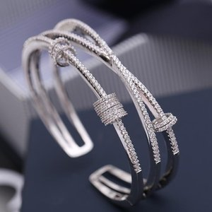 Silver Micro Inlaid Zircon Multilayer Smart Ring Bracelet Opening Design Cap Simple and Stylish Bangle ZK40