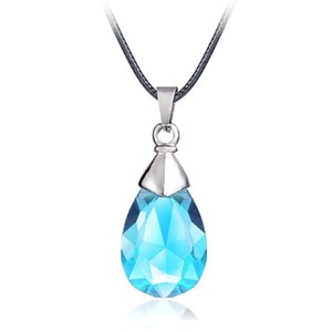 Mengtuyi Jewelry Light Blue Gems Stone Necklace Cartoon Water Drop Pendant Statement Women Leather Chain Necklace Ornament