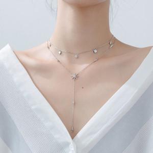Modian venta caliente Real 925 plata esterlina clara brillante cz estrellas collar encanto moda colgante para mujeres joyería de plata F1202